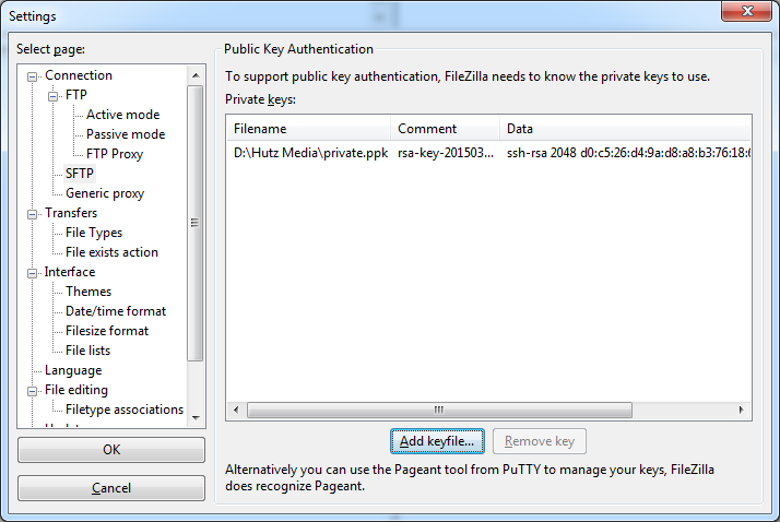 Filezilla add private key